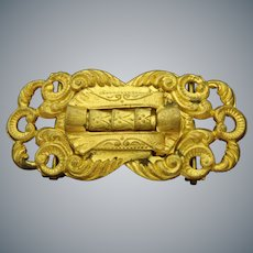 "Victorian gold plated brass belt buckle 2.75"" x 1.25"""