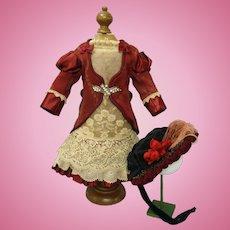 "Exquisite  French Silk jacquard Bebe dress & Bonnet for Bru Jumeau doll 20.5-21"" tall"