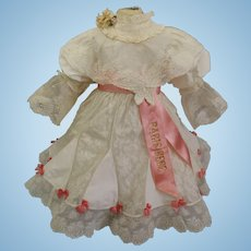 Gorgeous French Cotton Muslin & fine Lace BEBE JUMEAU Doll Dress
