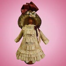 Wonderful French Silk jacquard satin Ribbons & Cotton Lace BEBE Doll Dress & Bonnet