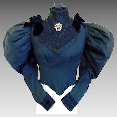 Iconic Victorian Fine black wool Top/jacket with Mutton or Gigot Sleeves