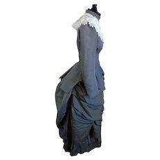 Antique 1890's 2-PC Silk Victorian Bustle Walking Suit