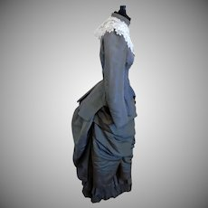 Antique 1890's 2-PC Silk Victorian Bustle Walking Suit