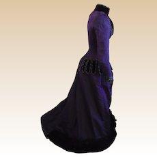 Antique c1990's Silk Faille Reception bustle trained Gown