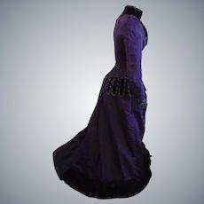 Antique c1890's Silk Faille Reception bustle trained Gown