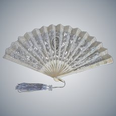 Antique c1900's Victorian handmade Battenburg Lace ladies Fan