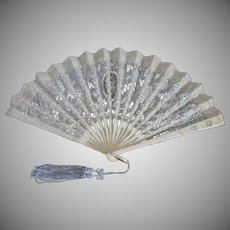 Antique c1900's Victorian handmade Battenburg Lace ladies Fan