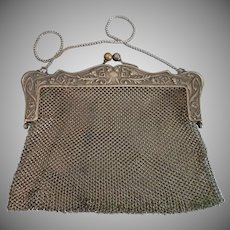 Antique Art Nouveau Mesh patented 1909 ladies Purse