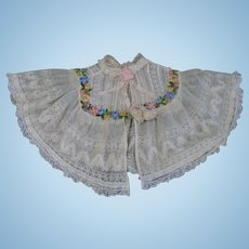 Most Beautiful Antique French Cotton Net Lace Doll Shawl Cape color ecru