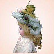 Gorgeous Antique French Velvet & Silk Wire Bebe Bonnet 19-th century