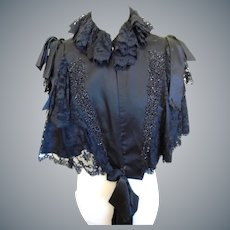 Original c 1870/1890 Victorian Silk Satin Cape Jet Beaded Ribbon/Lace Ruffles Size Small