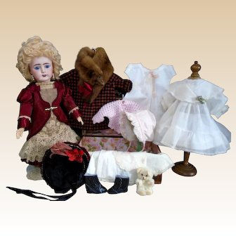 Happy Face French Bebe by Lanternier & Cie Limoges Beautiful Blue Eyes doll with Trousseau & Trunk