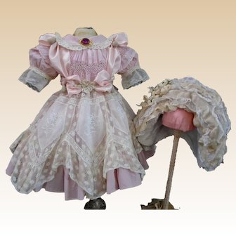 """Most Beautiful French Cotton Lace BEBE Doll Dress & Wire Bonnet for your favorite 23-24"""" Doll"""