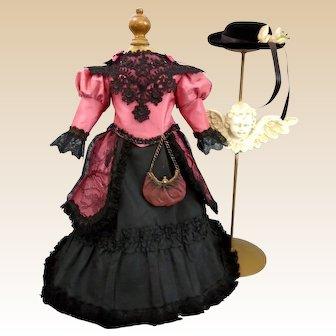 "Wonderful Silk Taffeta Two Piece Couturier French Fashion doll Costume 17""-18"""