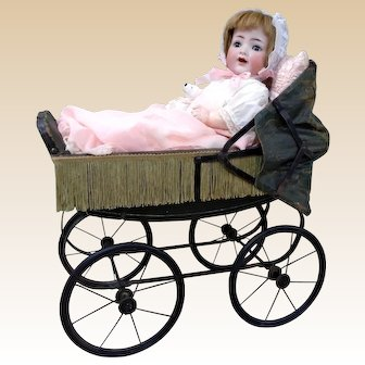 Most beautiful genuine Antique Doll carriage display