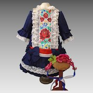 Extremely beautiful haute couture Traditional French Dress for BRU JUMEAU STEINER doll