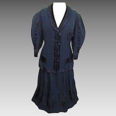 Fabulous Detailed Victorian Antique Black Wool & Silk Satin Ladies 2pc Suit