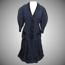 Fabulous Detailed Victorian Antique Black Wool & Silk Satin Ladies 2pc Suit