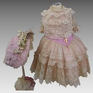Marvelous French Bebe Point d'Alençon Lace Dress with Silk wire Bonnet