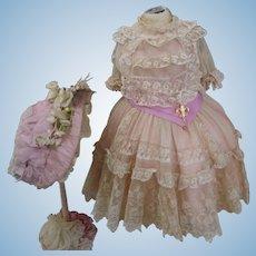 Marvelous French Bebe Point d'Alençon Lace Dress with Silk wire Bonnet