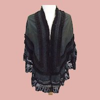 1870/1890 Gorgeous Victorian French Black Moire Silk & Lace cape