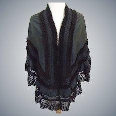 1870/1890 Gorgeous Victorian French Black Moire Silk & Lace cape