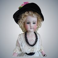 "Rare French Antique ""Tanagra PARIS"" Bisque Bebe in Antique Dress 22"" tall by Lanternier Lomoges c1900's"