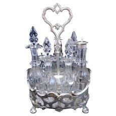 "Gorgeous Gothic style Antique Victorian James Dixon & Sons Sheffield England Cruet/castor set 12"" tall"