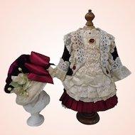 Superb French burgundy silk Velvet Costume & Bonnet