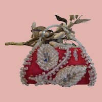 Early Native American Fine Glass BEADED Coin purse for French Poupee