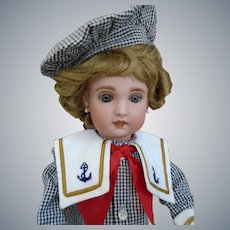 """Earlier SFBJ Jumeau 16"""" size 6 Doll mariner costume & 2 wigs"""