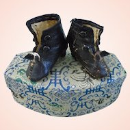 Antique French Fashion doll Leather Shoes Boots ca1870's