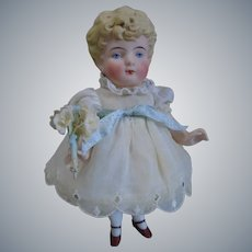 """Antique Earlier Hertwig & Co. German All Bisque Molded Hair Doll 7"""" tall"""