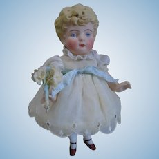 "Antique Earlier Hertwig & Co. German All Bisque Molded Hair Doll 7"" tall"