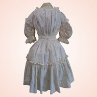 Gorgeous Antique French fashion doll couture Printed cotton full length dress