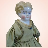 """ABG cabinet size 10"""" tall china Lady doll c1870's"""