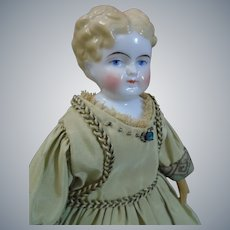 "ABG cabinet size 10"" tall china Lady doll c1850's"