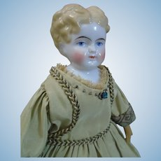 """ABG cabinet size 10"""" tall china Lady doll c1850's"""