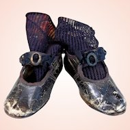 Gorgeous c.1880 French Leather doll shoes & cotton socks