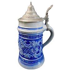 Antique German Westerwald Salt Glazed Stoneware Stein 1/2L