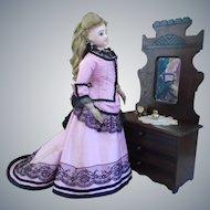 Late 19th Century Victorian Eastlake 3 Drawer Dresser w/Mirror Doll furniture/miniature Salesman sample