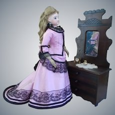 Late 19th Century Victorian Eastlake 3 Drawer Dresser w/Mirror Doll furniture/miniature Salesman sample