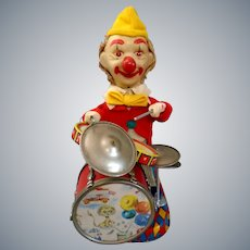 RARE Working 1950s Cragstan Alps Battery Operated Charlie Drumming Clown Toy