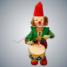 RARE Working 1950s Cragstan Alps Battery Operated BIMBO Drumming Clown Toy