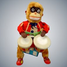 RARE Working 1950s Cragstan Alps Battery Operated Drumming Monkey Toy