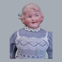 """Gebruder Heubach Rare pink bisque Coquette Character Child doll Germany 11.5"""" tall in Antique dress"""