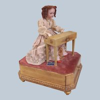 "French Musical Automaton ""Elegant Lady at Her Piano"" by AU NAIN BLUE shop France c1900"