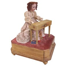 """French Musical Automaton """"Elegant Lady at Her Piano"""" by AU NAIN BLUE shop France c1900"""