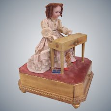 """French Musical Automaton """"Elegant Lady at Her Piano"""" by AU NAIN BLUE shop France c1890"""