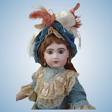 "c1880 French 23"" Bebe Jumeau 9 with Large dramatic Blue Paperweight Eyes, I-st place Winner Doll show 1961"